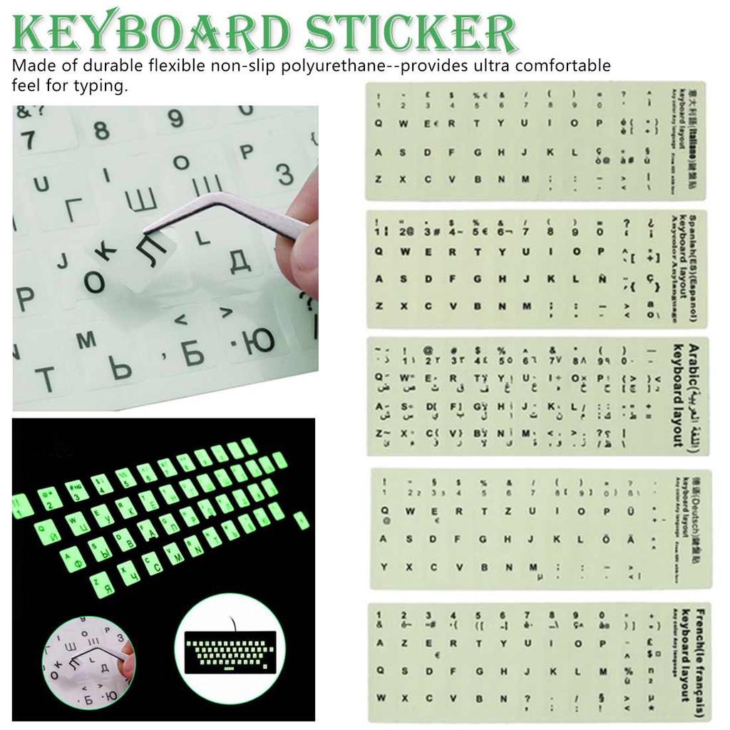 Russian Letters Keyboard Stickers for Notebook Computer Desktop Keyboard Cover Covers Russia Sticker-Green White