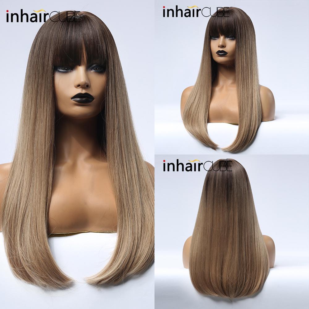 Inhair Cube Коричневый блондинка Ombre Синтетические парики Длинные прямые реалистичные волосы Cosplay Ежедневный парик с челки для женщин фото