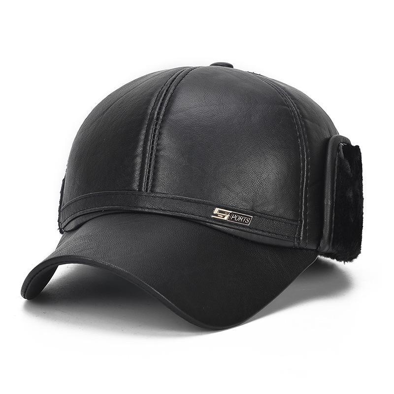 Luxury Winter Elderly Men Faux Leather Bomber Trapper Ear Warm Outdoor Hat Cap
