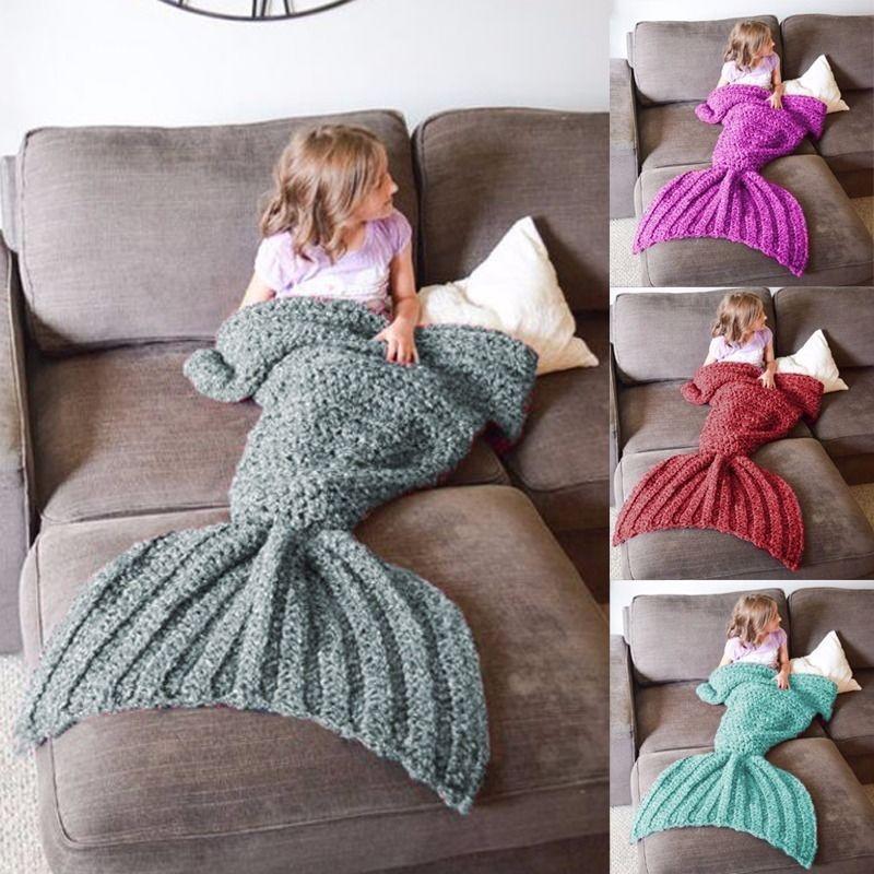 Sirena cola hecha a mano crochet Cocoon sofá mantas playa colcha ...