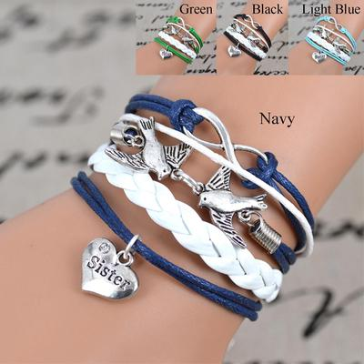 Women S Fashion Infinity Sister Bird Bracelet Christmas Gift Braided Bracelets Braid