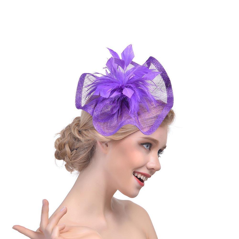 Boda novia chicas Sinamay Fascinator plumas flor Clip aro casco ...