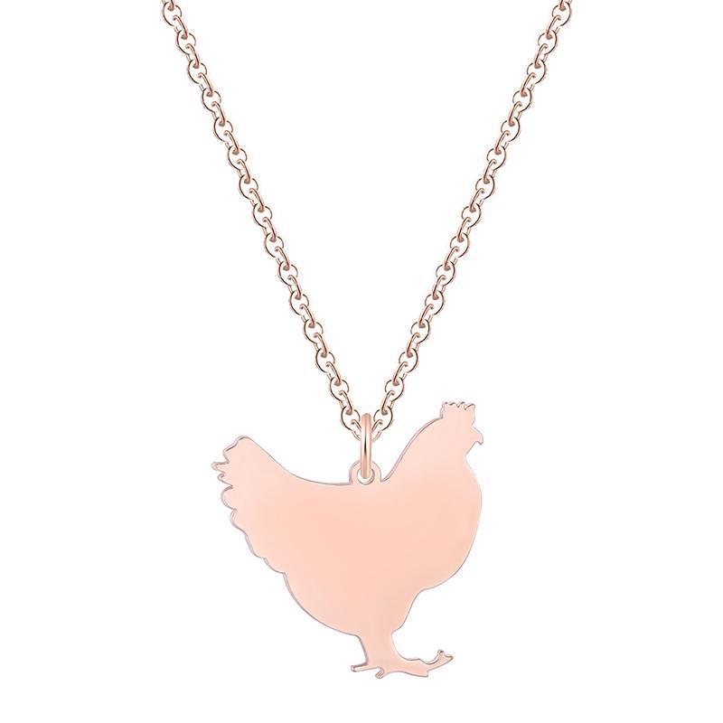 Chicken Necklace ~ Chicken Pendant ~ Pastel Gray Enamel Pendant ~ Chicken Lover Gift