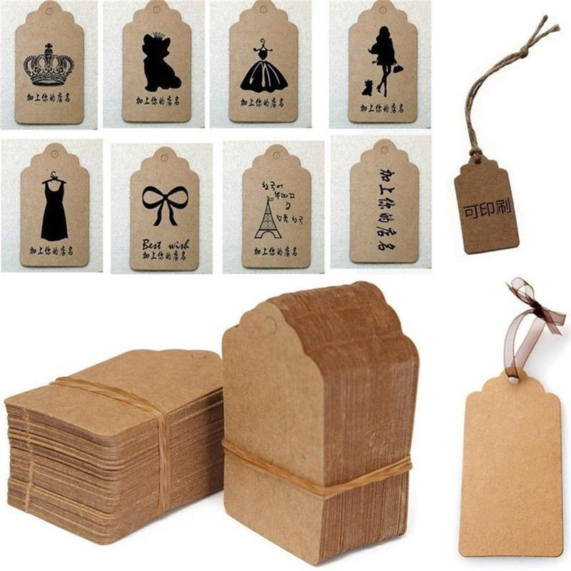 DIY Blank Kraft Paper Labels Tags for Party Wedding Xmas White Black Brown 100X