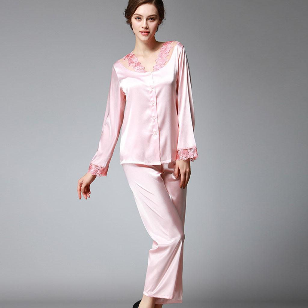 Fashion Silk Womens Solid Color Satin Button Down Lace Pajamas Set Sleepwear