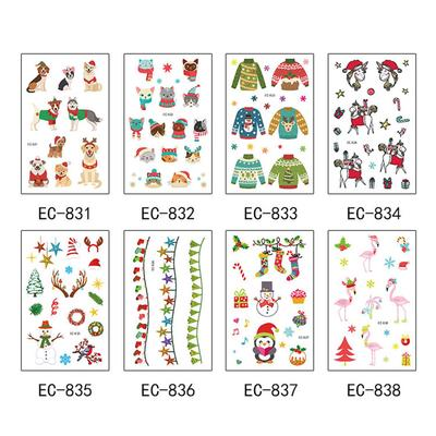 4 Sheet Luminous Christmas Temporary Tattoo Stickers Childrens Toys CuteTattoos Stickers for Kids Children Xmas Holiday Party Favors Supplies