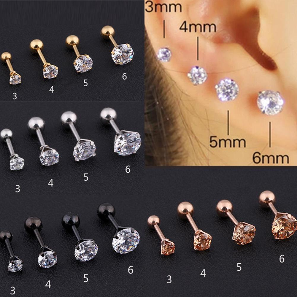 Gem Stainless Steel Earring Stud Cartilage Tragus Bar Helix Upper Ear Lip Ring