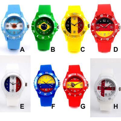 56b5e565d99f96 Mężczyźni Kobiety Zegarek kwarcowy Pasek silikonowy Piłka nożna Flaga  narodowa Okrągły Dial Casual Relax Time