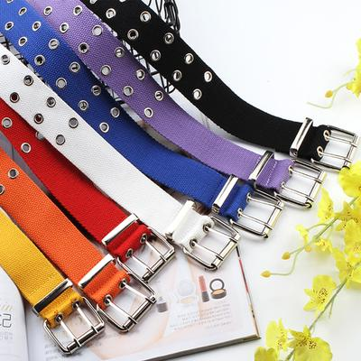 1 Pc Women Canvas Belts Hollow Out Air Hole Korean Style Decoration Belt Designer Unisex Casual Solid Color Corset Belts # Black