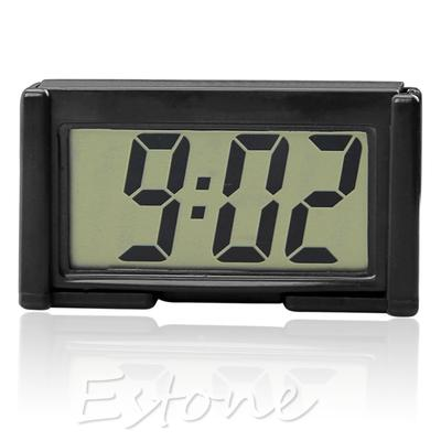New Interior Car Auto Desk Dashboard Digital Clock LCD Screen Self-Adhesive Bracket