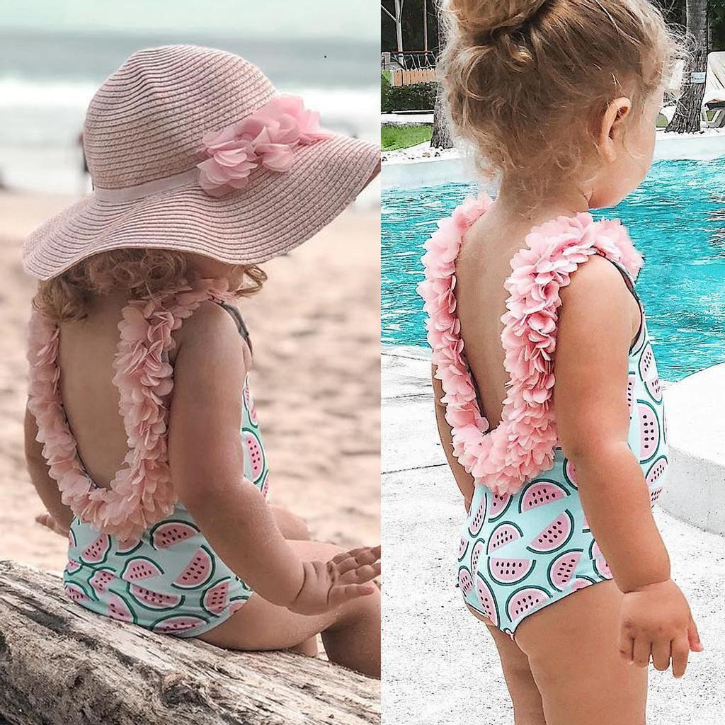 Newborn Baby Girls Swimsuit Infant Sunflower Printed 3PCS Bikini Swimwear Set Bathing Suit