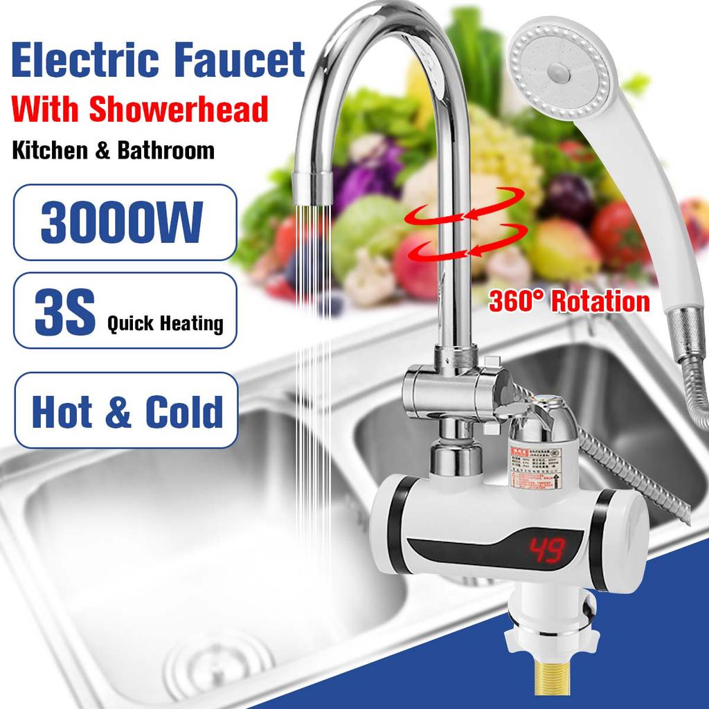 Three Colors Optional Instant hot Water tap Temperature Control Handle Digital LED Temperature Display 3000 W high Power Fast hot Water tap