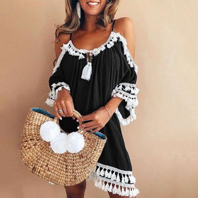 d150e032ad7 Summer Dress Women One Sided Exaggerated Frill Sexy Bodycon Fashion High  Neck Elegant Party Dress
