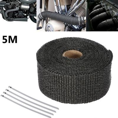 Glass Fiber High Heat Insulation Exhaust Wrap Tape for Car Motorcycle Black Exhaust Heat Wrap Exhaust Pipe Wrap