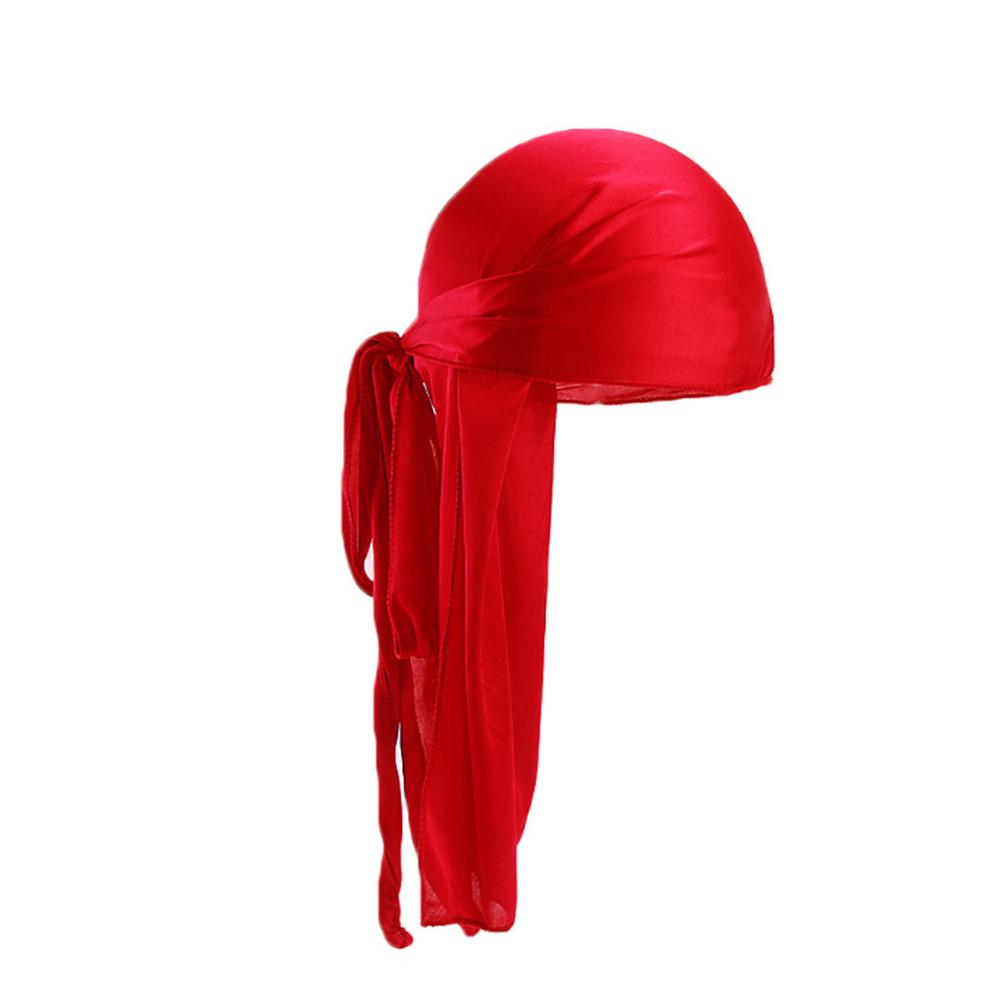 Women Men Turban Hat Silk Long Tail Bandanas Biker Headwear Chemotherapy Hats