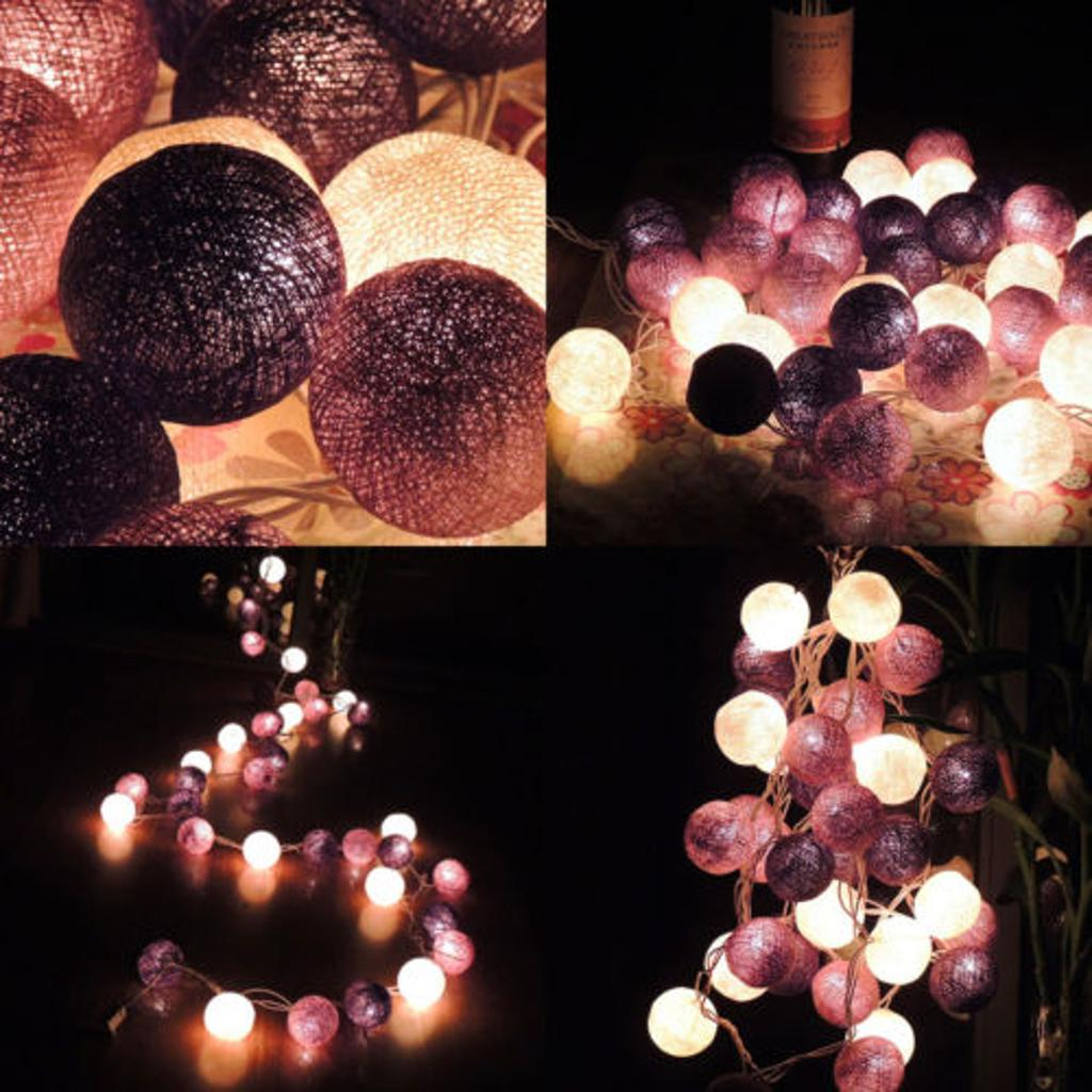 3 Shades Purple Cotton Ball Fairy Lights String Decoration Ball Lights