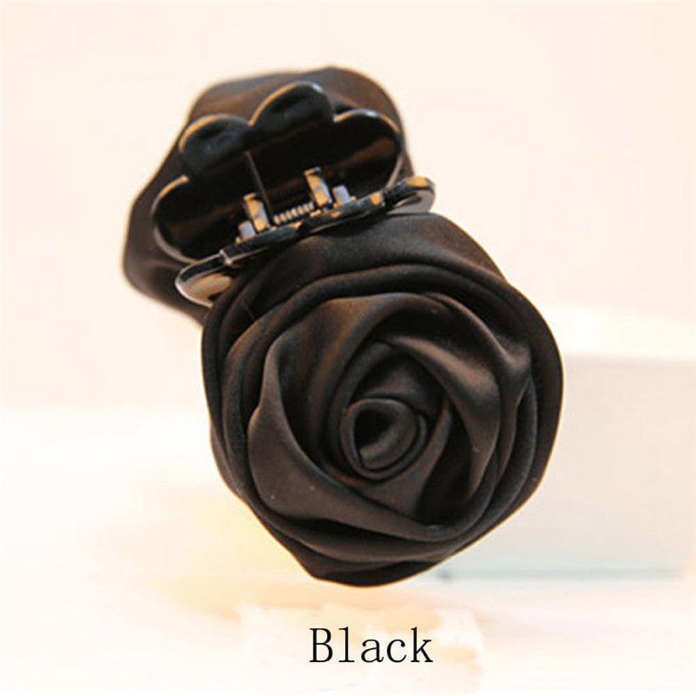Fashion Womens Chiffon Rose Flower Bow Jaw Clip Barrette Hair Claw Gift Hot XBUK
