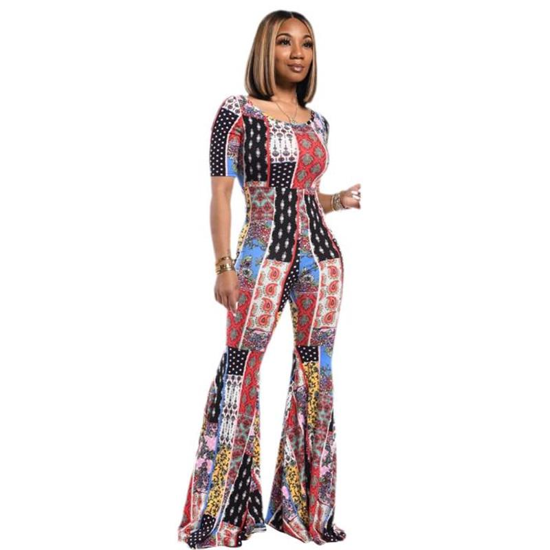 Stylish Women/'s Short Sleeves O Neck Colorful Print Bodycon Casual Jumpsuit 2pcs