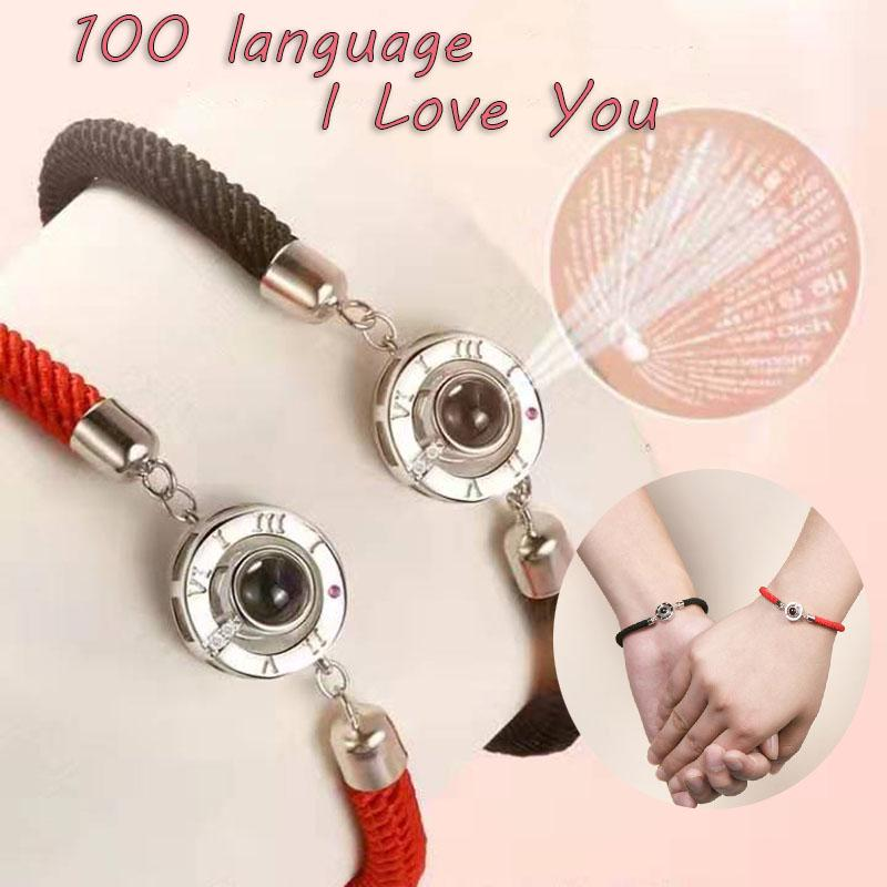 Couples Fashion 925 Silver I Love You In 100 Languages Twist Rope Bracelet Gift