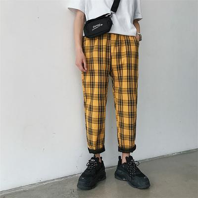 bdc8be7caaf Весной Streetwear плед мужчин бегунов брюки повседневные прямой человек  гарем брюки хип-хоп штаны Мужчины
