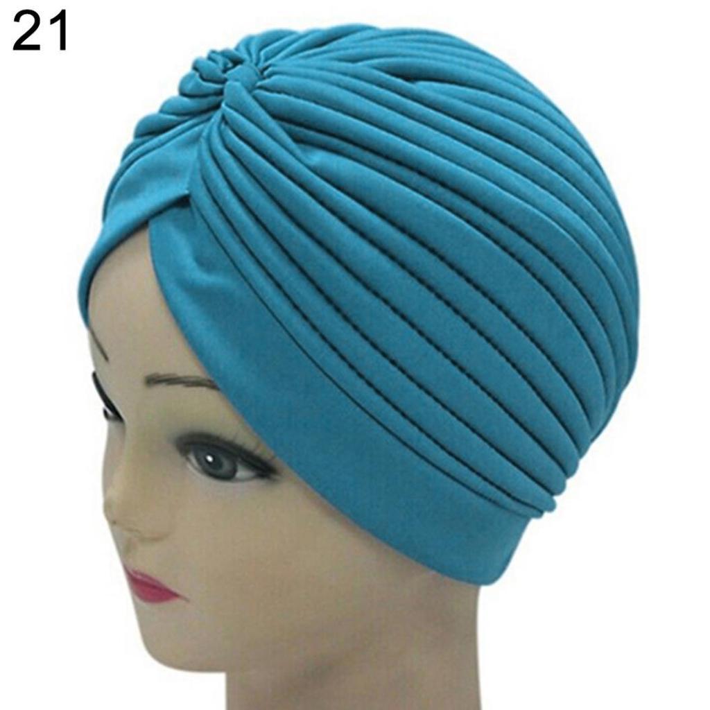 Women Hijab Tie-Dye Cotton Stretchy Hat Turban Head Wrap Chemo Bandana Scarf Cap