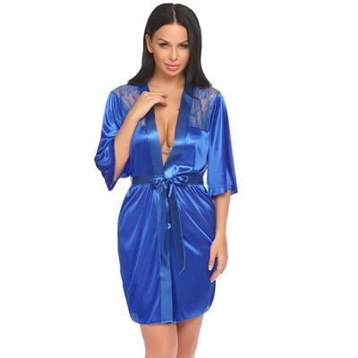 fad18b8600 Sexy Wrap Lace Satin Patchwork Half Sleeve Bathrobe Robe Sleepwear with G- String Belt