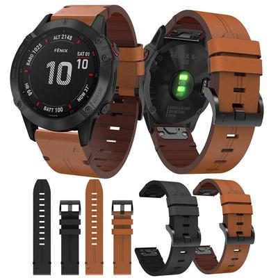 20/22/26mm Genuine Leather Band Quick Release Strap for Garmin Fenix 5X/6X/5S/6S