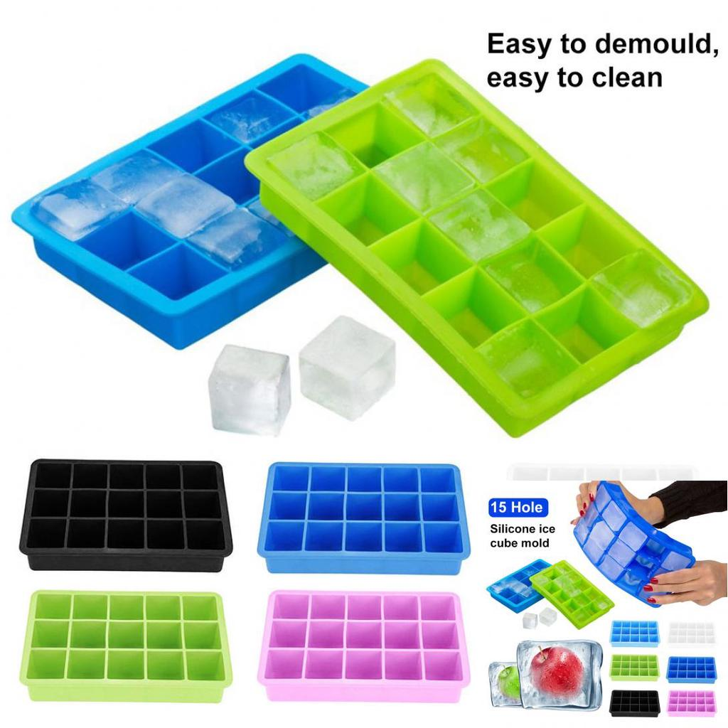 15grids Soft Silicone Ice Cube Tray Large Mould Mold Giant Maker 3 3 3cm