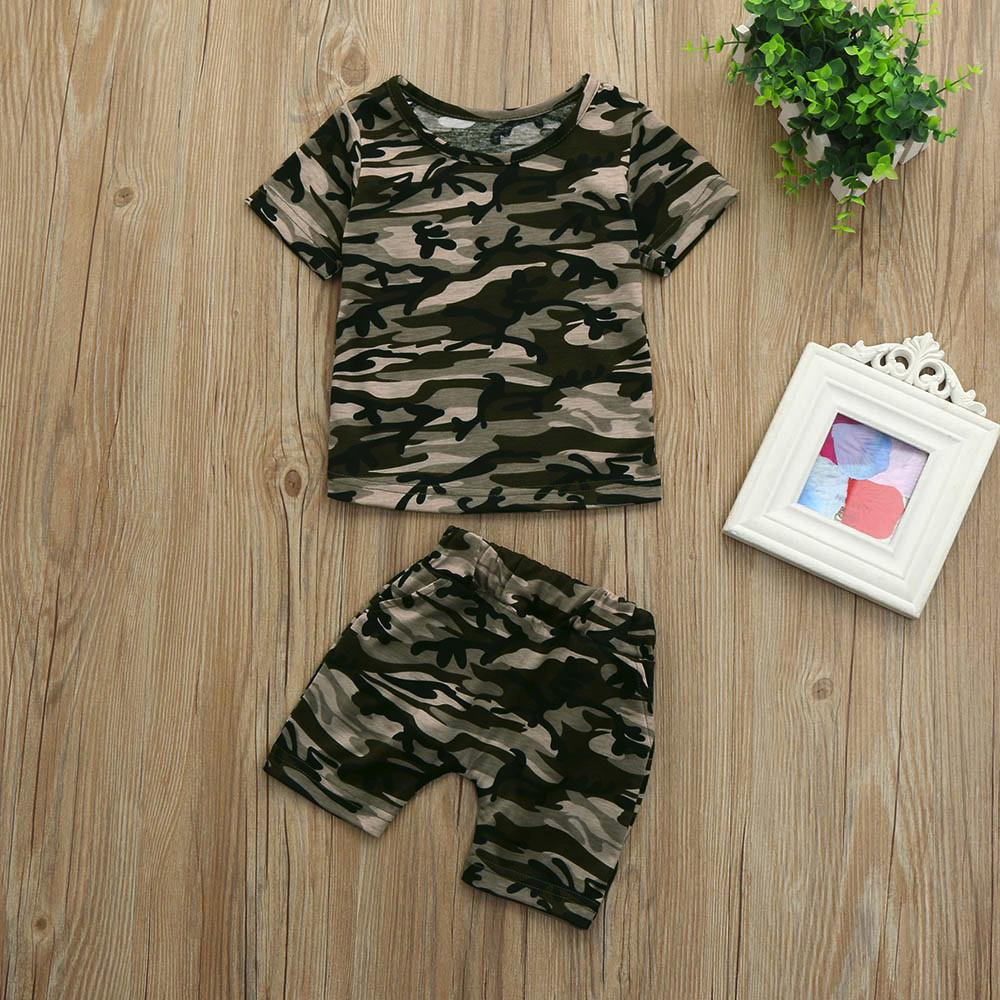 Baby Boy Camouflage Letter T-Shirt Tops Shorts Outfits 2PCS Kids Boys Short Pants Summer Clothes