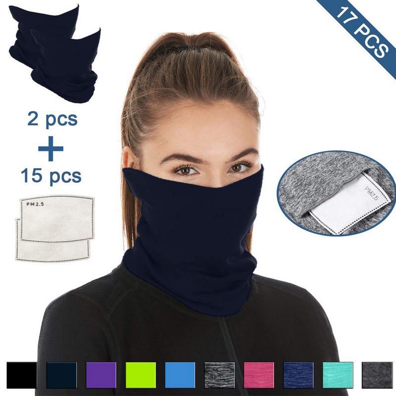3pc FACE MASK WARMER Ear Neck Tube Gaiter Snood Headband Bandana Scarf Balaclava