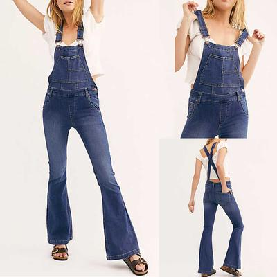 Fashion Women Casual Slim Hole Pants Spring Denim High Waist Overalls Jean Pants