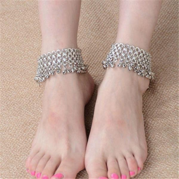 新款 欧美饰品 唯美复古民族风夸张个性铃铛流苏多层沙滩脚链女