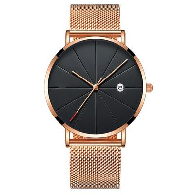 2f9e16708c4 Relógios luxo negócios Mens aço inoxidável malha Ultra fina data quartzo  pulso Watch Strap homens