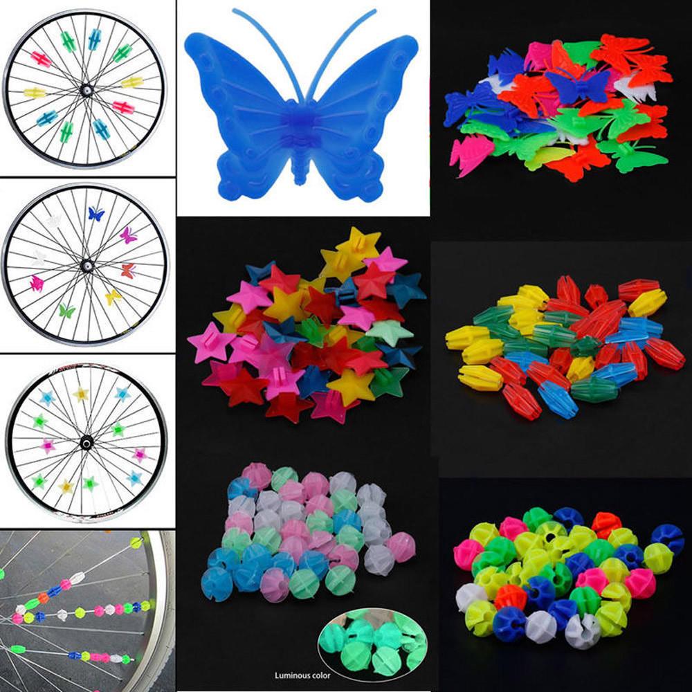 36pc Bicycle Bike Wheel Plastic Spoke Bead Children Kids Clip Colored Decor HR