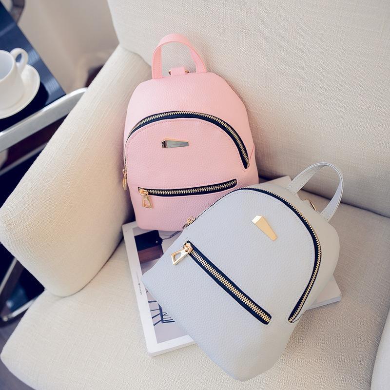 双肩包女韩版pu时尚潮流撞色迷你小背包休闲百搭多用旅行女士包包