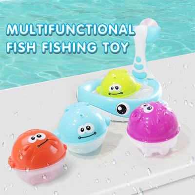 TOYMYTOY Bath Toy Toys Fish Net Game in Bathroom for Kids Toddler Baby Boys Girls 12Pcs Fishing Floating Squirts Toy Bath Net Bath Tub Spoon