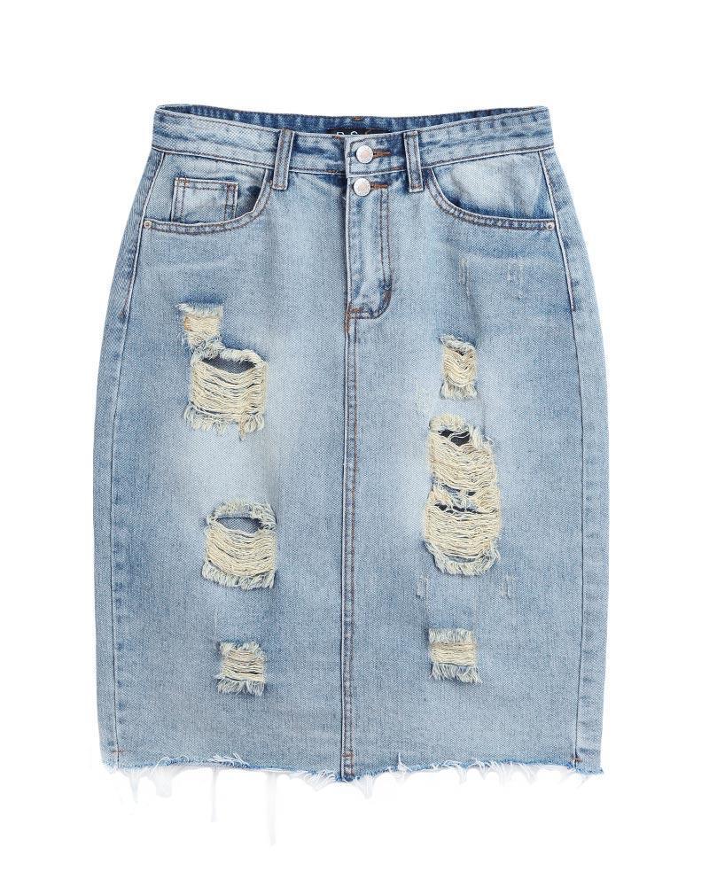 c045af203 Nueva moda mujer ripeada Denim falda cintura alta bolsillos Split atrás  lamentando lápiz Falda azul