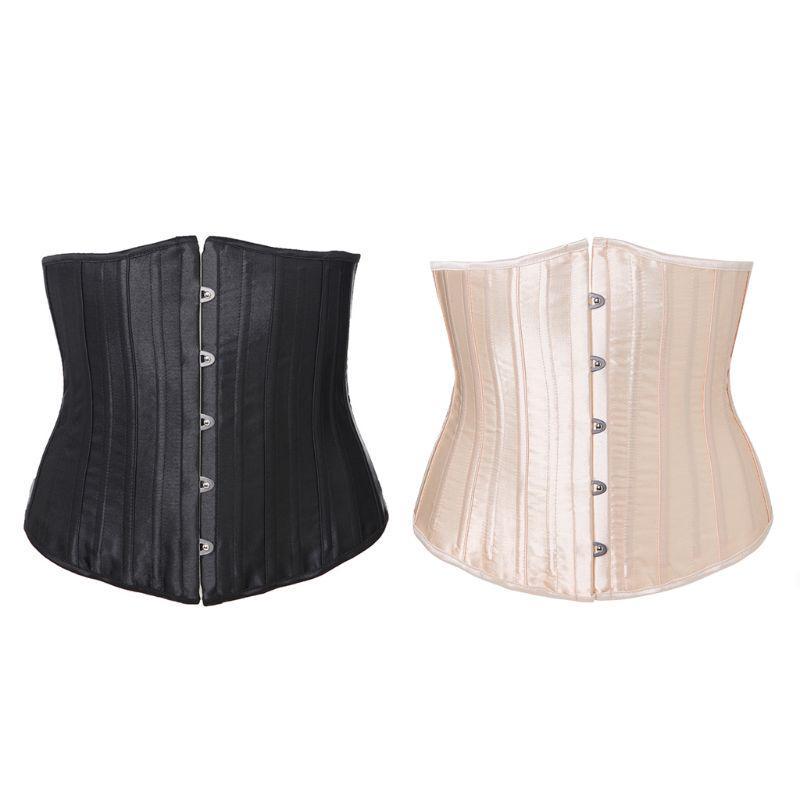 Women 26 Spiral Steel Boned Waist Trainer Satin Underbust Corset Torso Shapewear