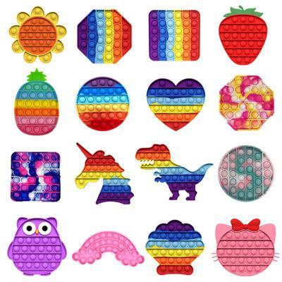 New Push Bubble Fidget Antistress Toys Adult Kids Unicorn Dinosaur Pop Fidget Sensory Toy Autism Special Needs Stress Reliever