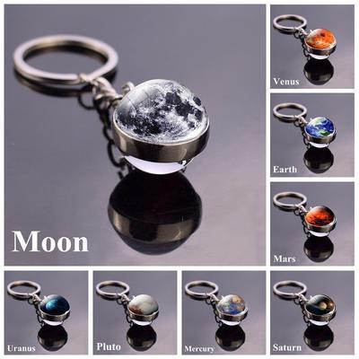Solar System Planet Keyring Galaxy Nebula Space Keychain Moon Earth Double Side Glass Ball Key Chain