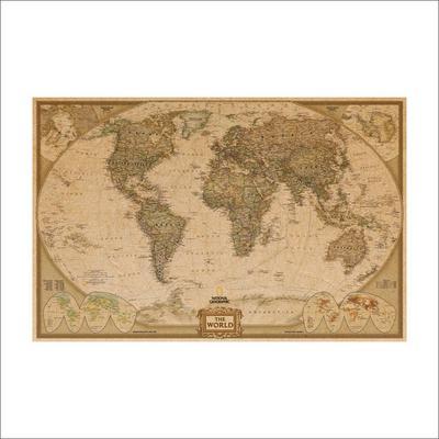 Grand Vintage Papier R/étro Terre Lune Carte du Monde Affiche Mur Graphique Mur D/écoration D/écoration Murale Autocollant