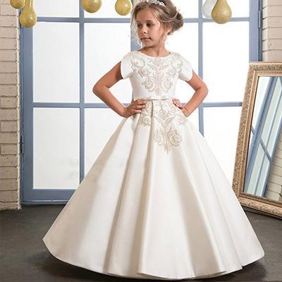 Lange Stickerei Tüll Kleid Mädchen Hochzeit Party Kleider ...