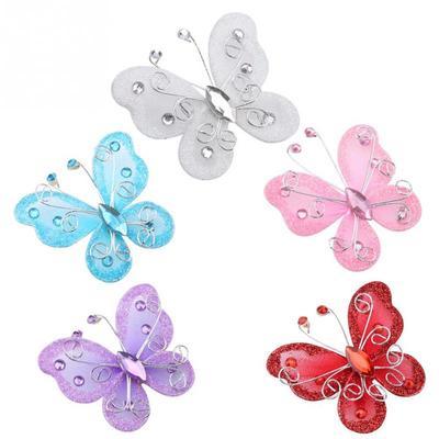 100pcs White Glitter Mesh Stocking Diamante Butterfly Wedding Craft Decoration