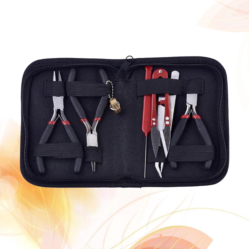 11 Set Jewellery Making Beading Pliers FLat Long Round Nose Awl Tools Kit