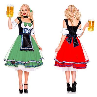3e0d6c70aa8 Women Girl Maid Red Green Costume German Bavarian Beer Wench Sexy ...