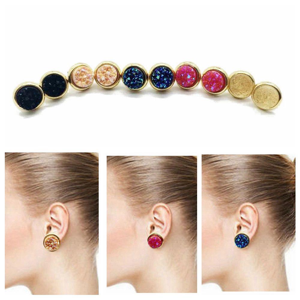Women Amethyst Natural Stone Jewelry Quartz Ear Stud Durzy Crystal Earrings