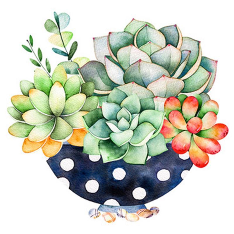 5D DIY Full Round Drill Diamond Painting Succulent Plants Cross Stitch Kit ③