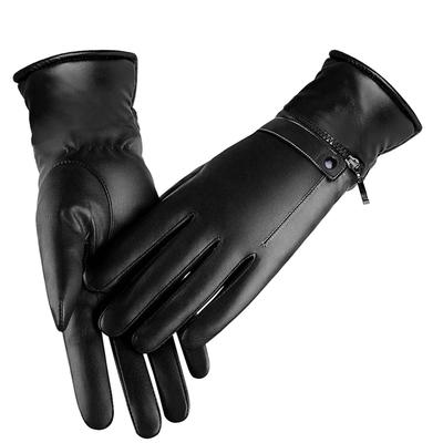 Mens Winter Soft Sheepskin Real Leather Gloves Touch-Screen Motorcycle Driving Warm Velvet Lined
