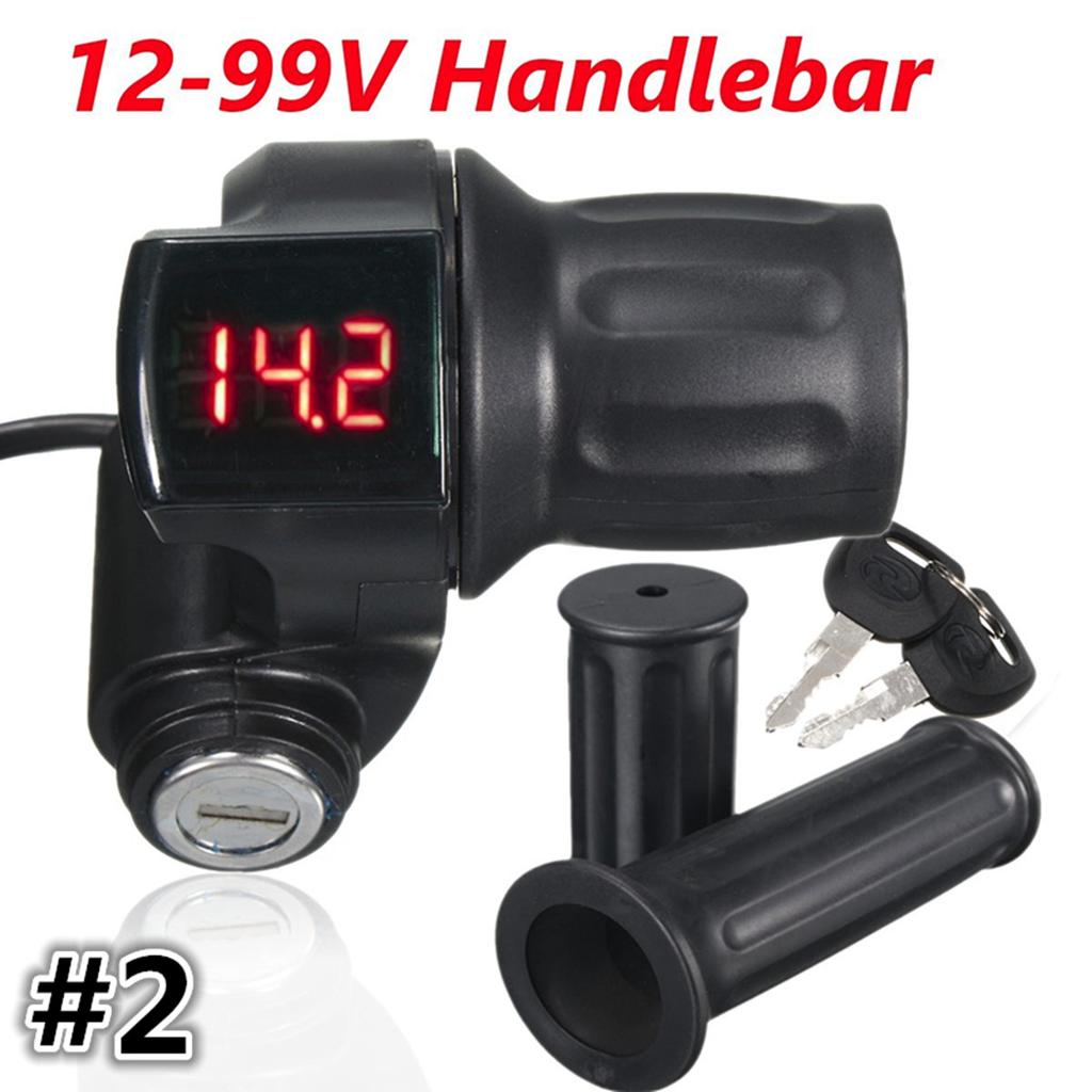 12V-99V LED Electric EBike Scooter Throttle Grip Handlebar Digital   J