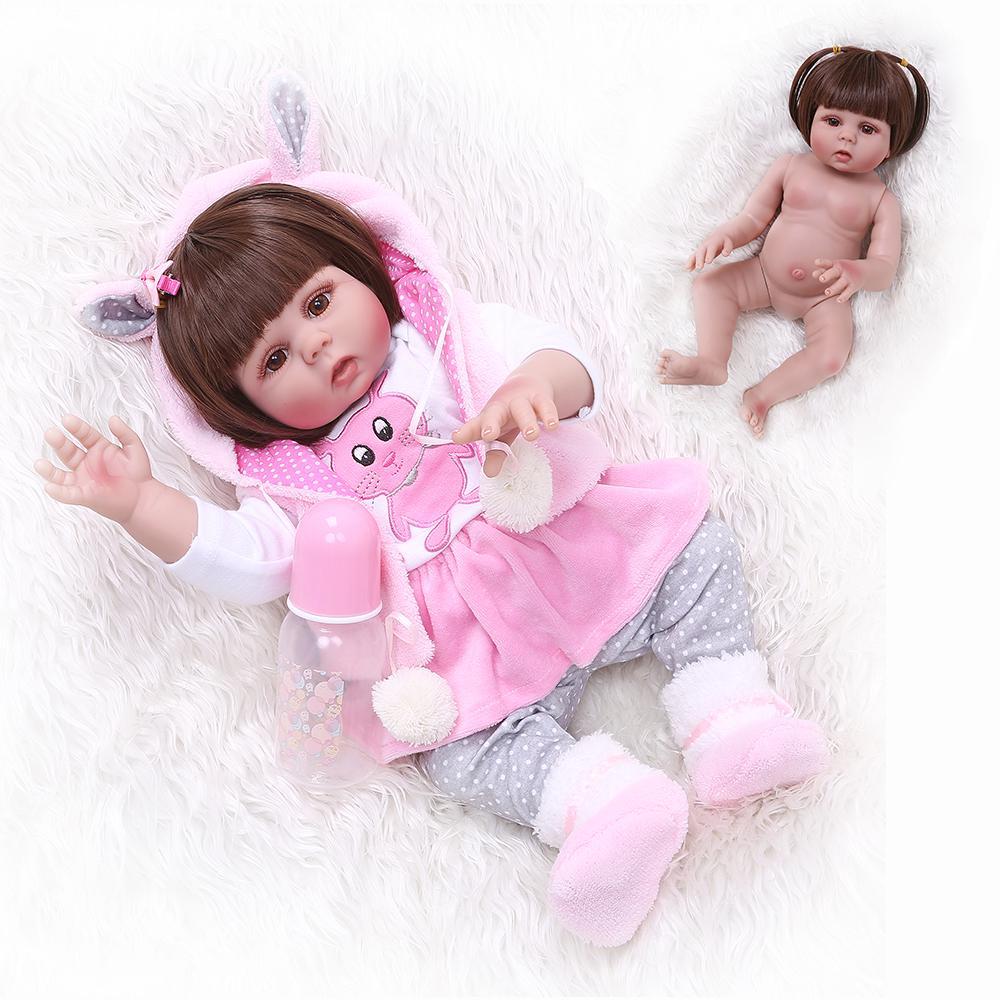 48CM Reborn Doll Lovely Girl Doll Full Body Silicone Vinyl Anatomically Correct